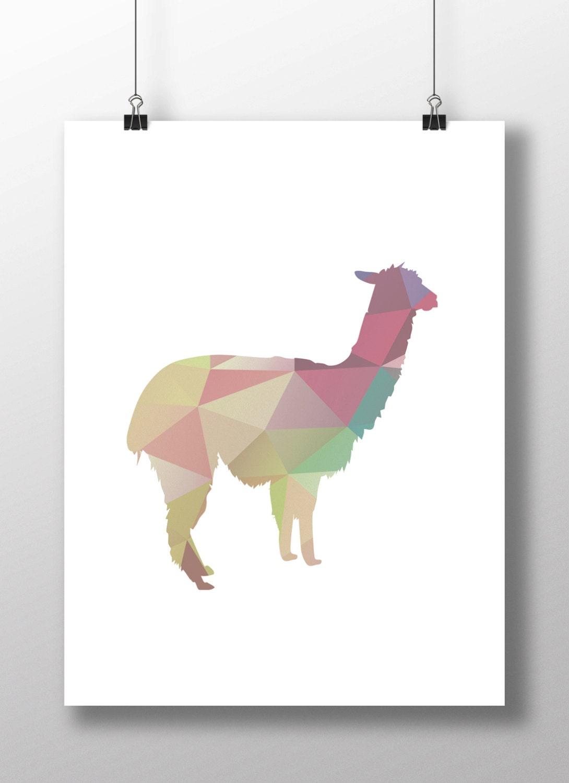 Printable Art Geometric Llama Print Pastel Llama by TypeAndTrend: https://www.etsy.com/listing/240530398/printable-art-geometric...