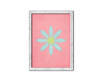 Pink with Light Blue Pointed Daisy Nursery Print-Millie Collection