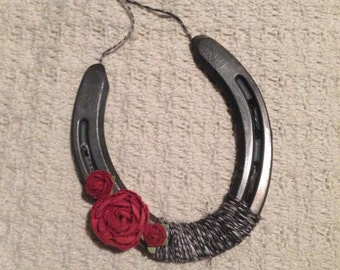 Black , White and Red Lucky Horse Shoe
