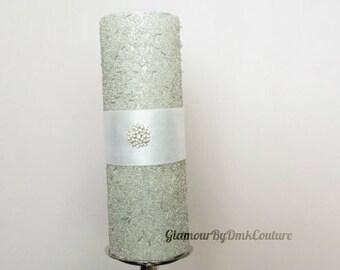 Silver beaded shimmering unity pillar candle/Wedding unity candle/Embellished centerpiece