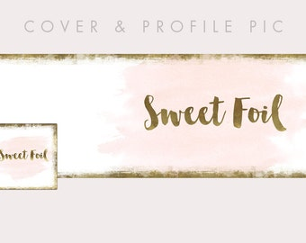 Pink & Gold Timeline Cover + Profile Picture | Sweet Foil | Cover, Profile Picture, Branding, Web Banner, Blog Header