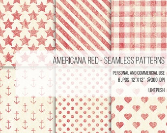 SALE: Americana Red Digital Papers Seamless Patterns Scrapbooking Background Stars and Stripes Hearts Polka Dots Buffalo Plaid Wallpaper