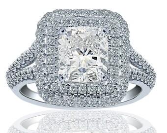 Cushion Cut Diamond Engagement Ring, 2.05ct Halo Cushion Cut Ring, Diamond Engagement Ring, Handmade, 18k White Gold, Split Shank Design