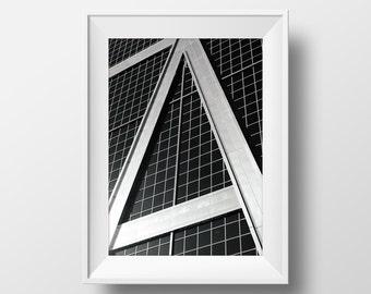 Black windows, Photography, Art Print, Black and White, building, skyscraper, sky, print