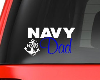 Navy Dad (M37) Vinyl Decal Sticker Car/Truck Laptop/Netbook Window