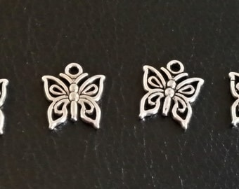 5 Small Antiqued Silver Butterfly Charms | 2193