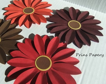 Wedding Autumn Fall Daisies Paper Flowers Set 4