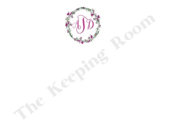 Floral Wreath Flat Note, Monogrammed Stationery Set