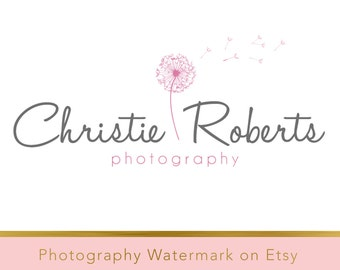 Instant download logo - DIY Premade Logo - Photography Watermark - Photography Logo - Whimsical Logo - Dandelion Logo - Flower Logo 8