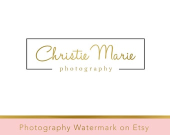 Instant Download Logo - DIY Pre-made Logo Design - Photography Watermark - Gold Logo Template - Photography Logo - Typography Logo 85