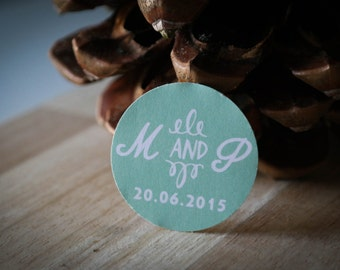 40 labels custom wedding - initials + date + color choice
