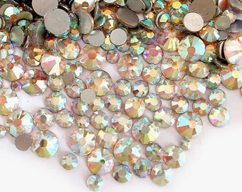 500pcs High Quality Wholesale Pack Mixed Assorted Silver Back FlatBack Crystals Glass Rhinestones Size ss6 ss8 ss10 ss12 ss16 ss20-AB Clear