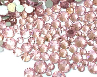 500pcs High Quality Wholesale Pack Mixed Assorted Silver Back FlatBack Gem Glass Rhinestone Gem Size ss6 ss8 ss10 ss12 ss16 ss20-Light Rose