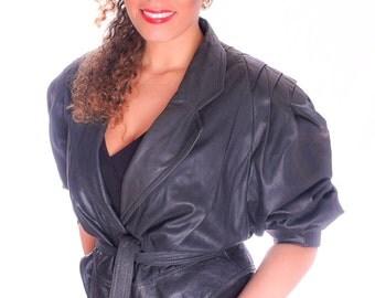 SALE! 80's Black Cropped Leather Jacket