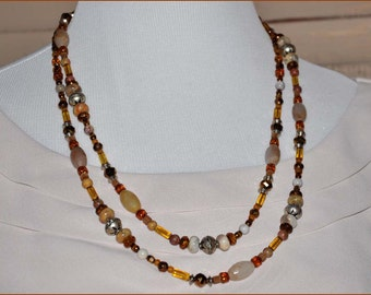Amber Bead Necklace, Extra Long Necklace, Crazy Lace Agate, Double Strand Beads, Silver Bead Necklace, Peach Bead Necklace