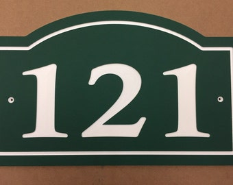 """Arched House Number Sign Address Plaque 14x8.5""""  1/4"""" King ColorCore Green/White"""