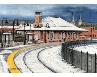 Snowy Frederick Arrival - Winter Landscape, Art Print, Watercolor Painting
