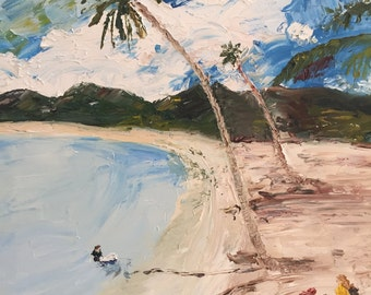 "Original oil painting, fine art impasto impressionism, ""Beach II"""