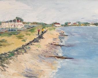 "Original oil painting, fine art impasto impressionism, ""Hill Head"""