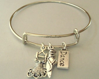Pick A Initial / DANCE DRESS Ballerina Shoe /   Dance Tag /  Silver CHARM Adjustable Bangle / Bangle Bracelet / Gift For Her- Usa  D1