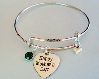 MOTHER'S DAY Expandable  Bangle W/ Birthstone Crystal Drop w/ A Silver Tone Heart  / Gift For Her Under 20 Usa  F1