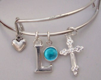 GIRLS First Communion CROSS Charm Adjustable Bangle W/ Swarovski Birthstone Crystal Drop/ Intial  Silver Heart/ Religion FC1