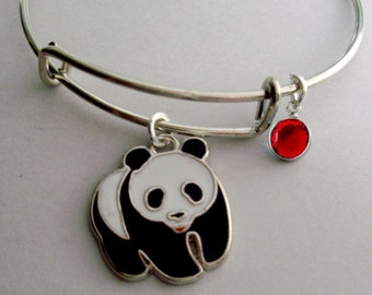 PANDA BEAR Charm Bracelet / Adjustable / Expandable Bangle W/ Birthstone / Initial Charm Under Twenty / Gift For Her/  Usa A1