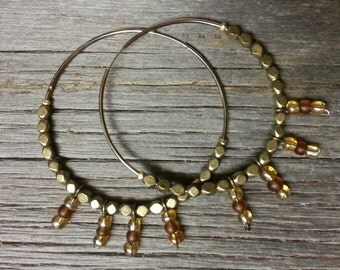 Handmade Large Hoop Earrings Made w/ Upcycled Vintage Pieces-Brass and Glass Beads