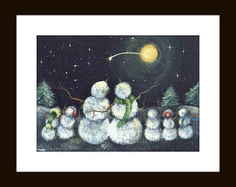 Snowmen Art Print, Shooting Star, Group of Snowmen, Heavenly Wonder Art Print, Snowman Gazing at Moon, Snowmen at Night