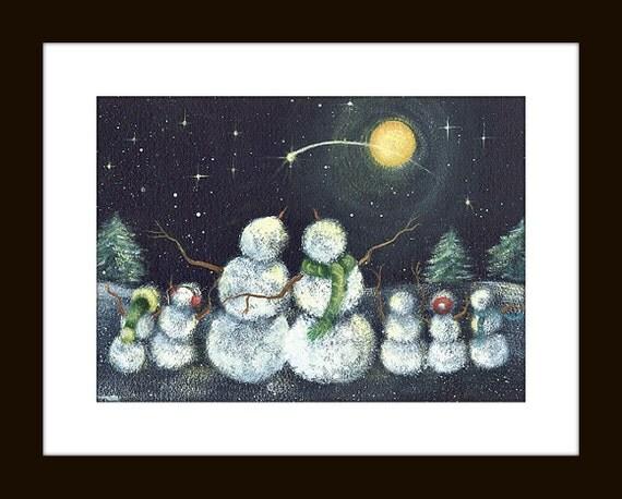 ... , Heavenly Wonder Art Print, Snowman Gazing at Moon, Snowmen at Night