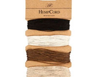 Hemp Cord -0.5 mm dia - 4 x 9 m  long - 4 natural colours