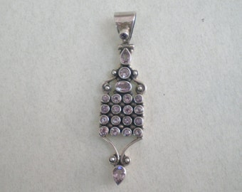 Silver Pendant with Amethysts
