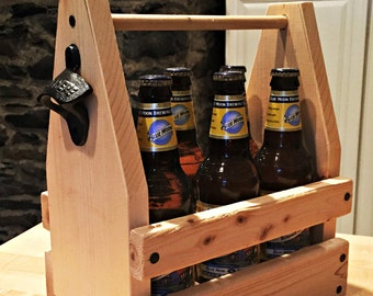 Wooden Six Pack Caddy with Opener - Six Pack - Beer Opener - Groomsmen Gift - Father's Day Gift - Husbands - Handmade