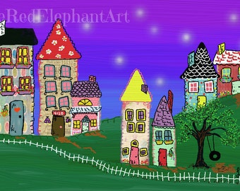 Summer Night -Mixed Media, DIGITAL DOWNLOAD, homes,neighborhood, family room decor, whimsical, abstract, nighttime, stars, houses, buildings