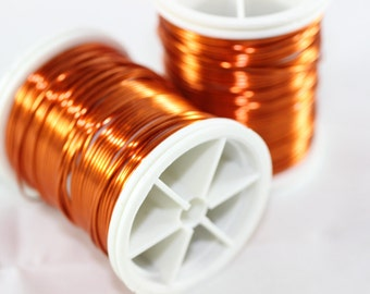 Orange Wire 18, 20, 22, 26 and 28 Gauge Jewelry Wire, Wire Wrapping, Craft Wire, 16/28/60/92/155 Feet Artisan Wires