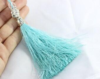 5 Pcs Turquoise Silky Thread Tassel, Beaded Tassel Necklace, 130 mm Tassel Pendants with Rhinestones and Silver Bead Caps