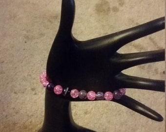 Pink and Purple Beaded Skull Bracelet