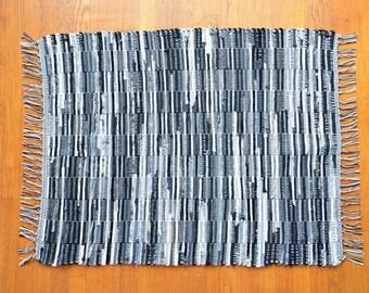 Black And White Handwoven Rag Rug