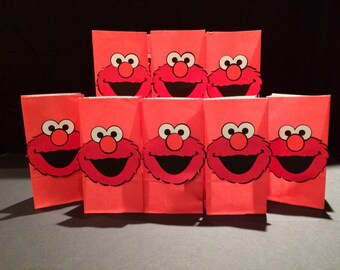 10 elmo favor bags/loot bags/candy bags