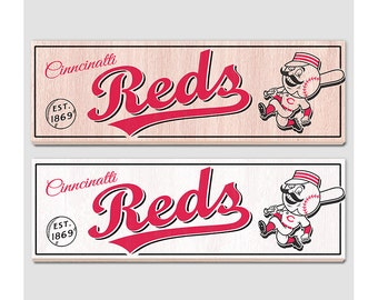"Cinncinatti Reds Wood sign - 7"" x 22"" - Reds fan wall hanging - Boys room Man cave Sports Bar decor - Fathers Day gift for Dad"