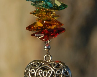 RAINBOW, Crystal Suncatcher, Car Charm, Swarovski Heart Rainbow Maker, Car Rearview Mirror Charm, LOVE
