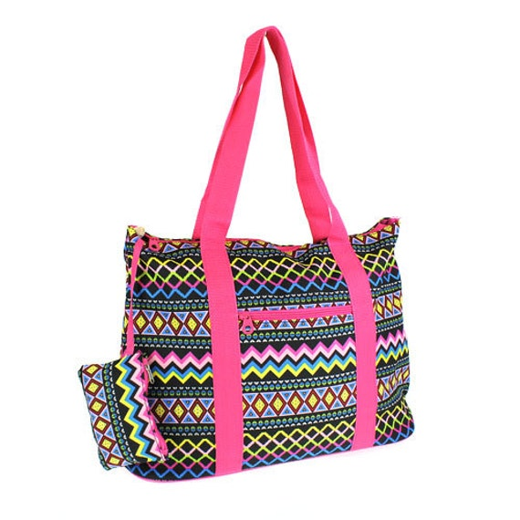 aztec pink trim large tote bag for craft supplies or travel