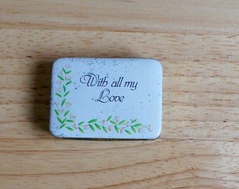 Small Vintage Tin Pillbox With All My Love And Floral Details