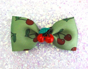 Retro Cherry Green Hair Bow Clip - Rockabilly - Kitsch - Pinup - 50s