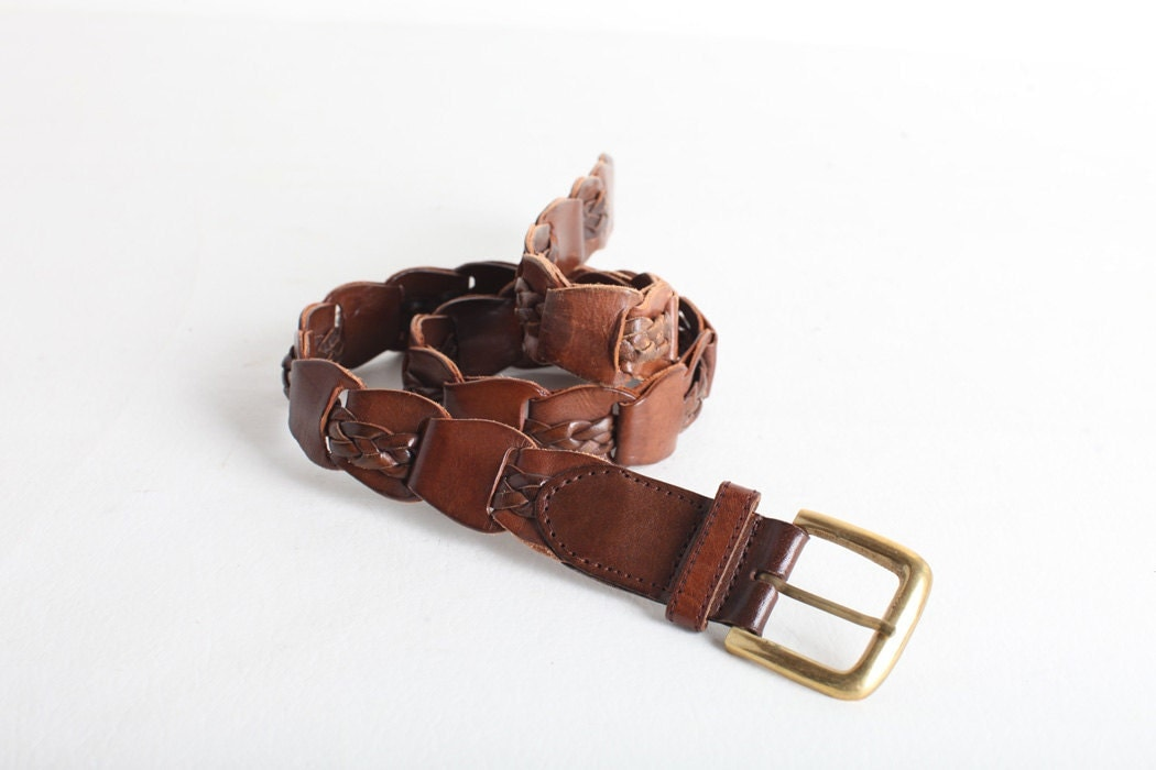 size small s brown leather link belt