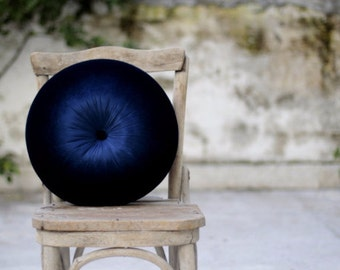 Navy blue velvet pillow 16""