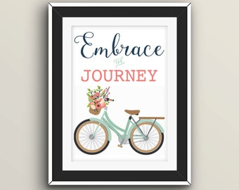 """Print """"Embrace the Journey"""" with bike teal, navy, sage"""