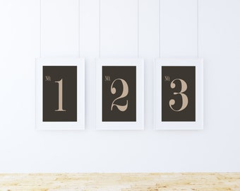 DIGITAL DOWNLOAD - Tan and Brown Number Industrial Prints (Numbers 1-10)  Size 16 x 20 Gallery Wall