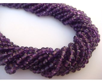 Wholesale Amethyst Rondelles Lot  - 4mm Micro Faceted Rondelles - 5 Strands - 14 Inches Each