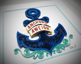 Nautical Quilled Anchor Paper Art